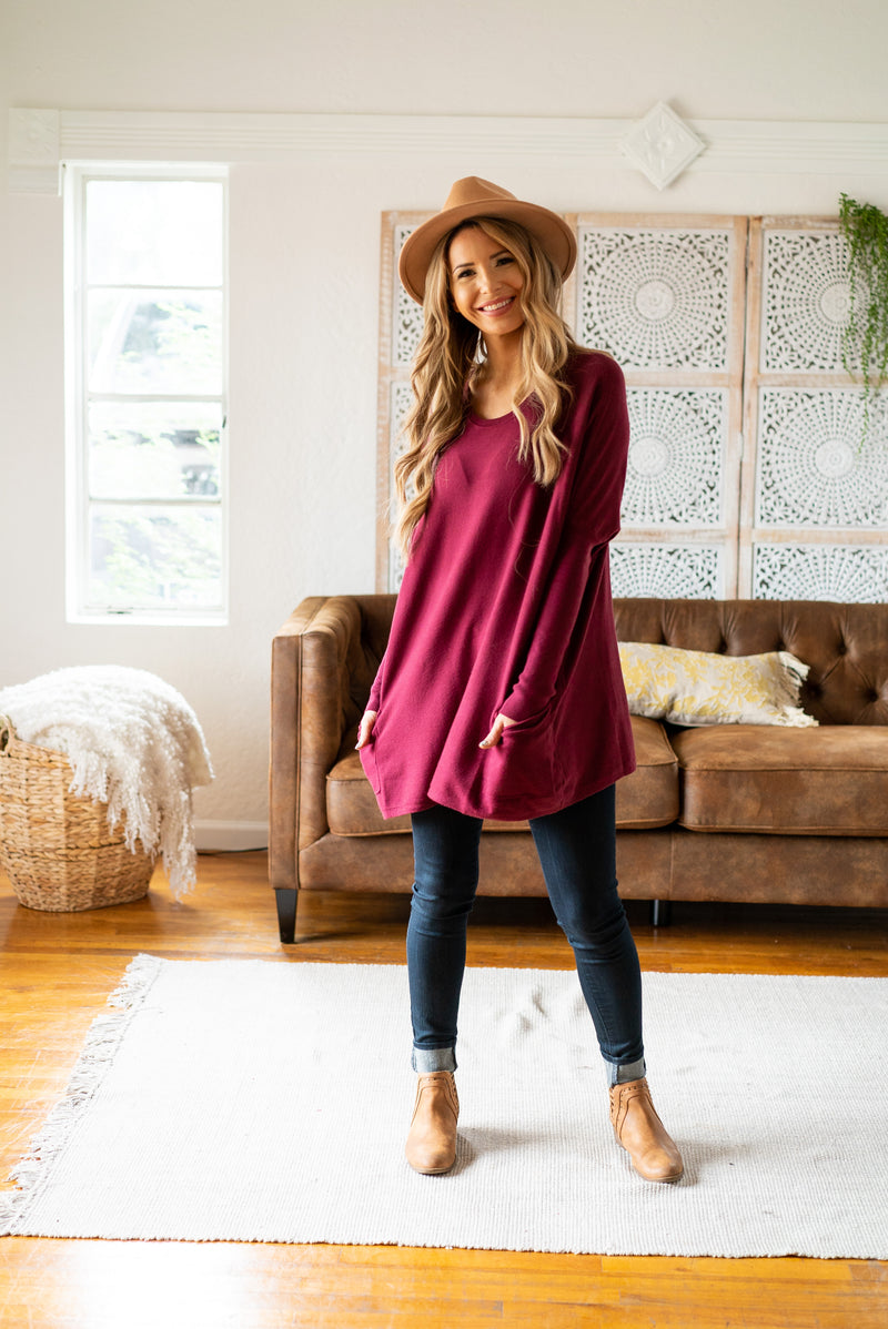 The Freya Solid Sweater in Mulberry