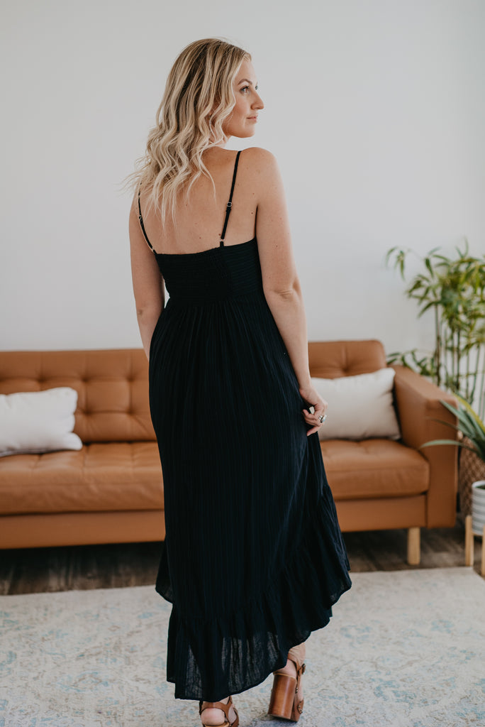 The Cullen Ruffle Midi in Blackl, midi dress, ruffle dress, Baby Bump Friendly, lined, sleeveless, fashion, Wren & Ivory, Wren and Ivory, spaghetti straps, 100% Cotton, fully lined