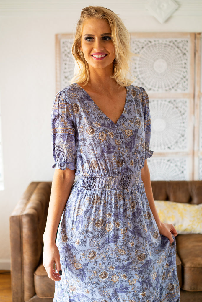 The Clara Floral Dress in Lilac