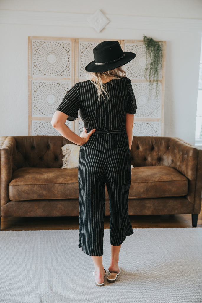The Eilish Striped Jumpsuit in Black