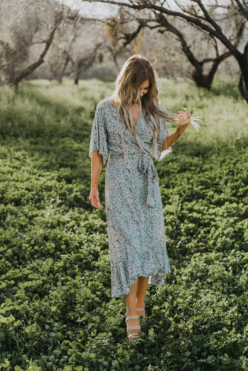 The Tazia Wrap Dress in Sage
