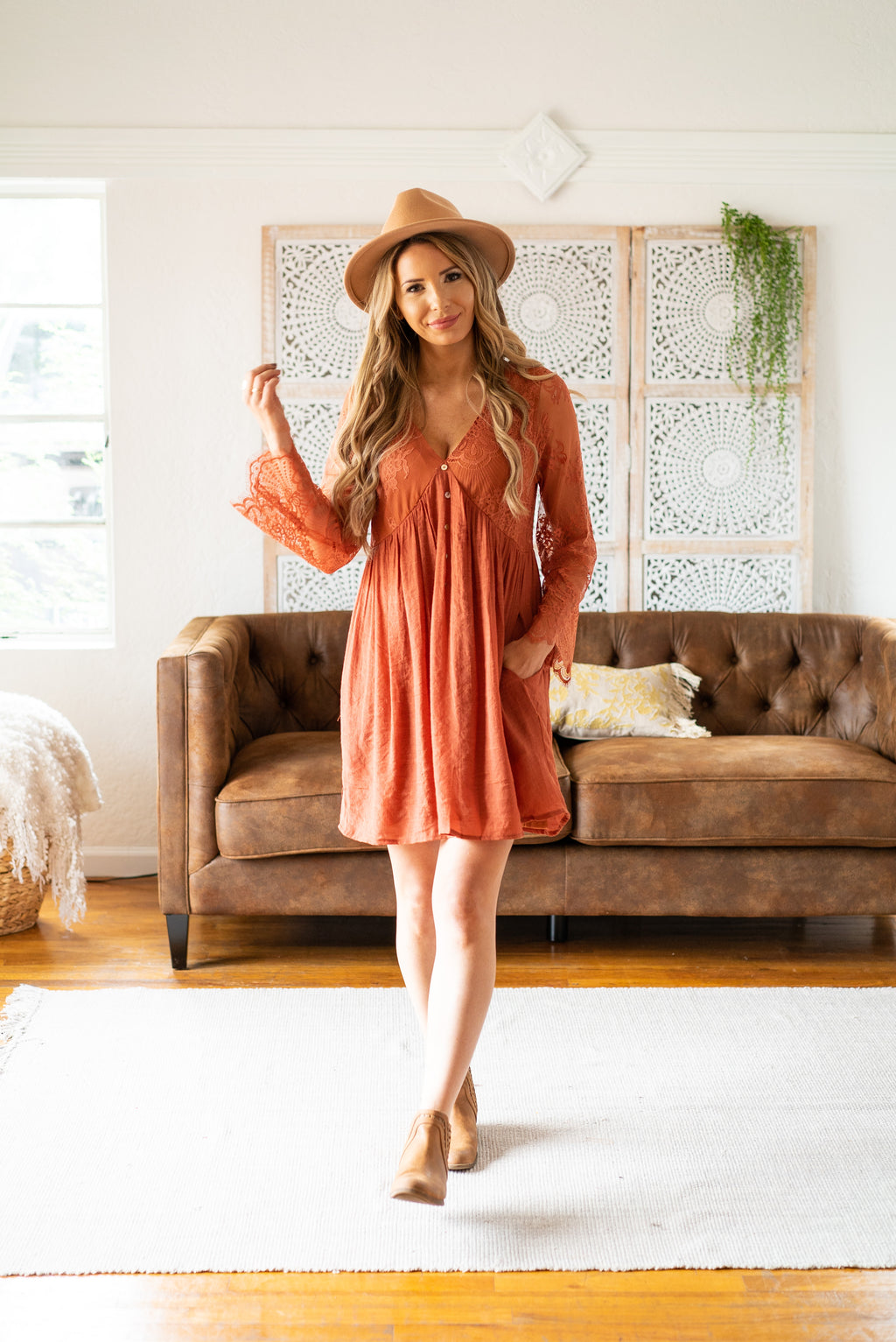 The Irina Lace Dress in Pumpkin