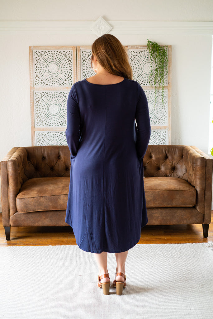 WI Basics: The Elsa Swing Dress in Navy (Sizes S-3X)