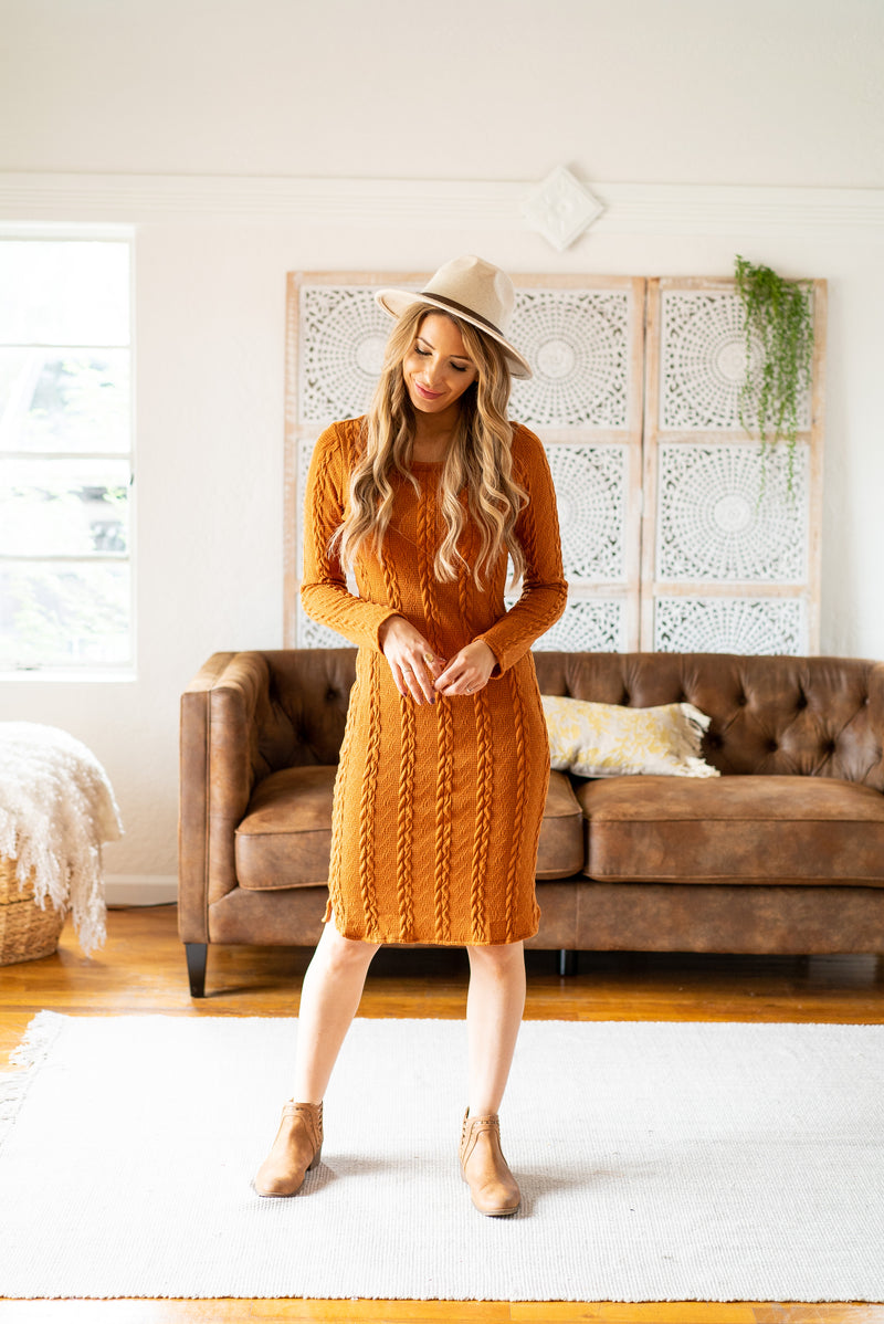 The Warwick Sweater Dress in Camel