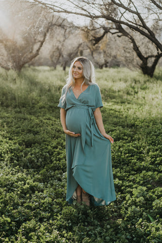 The Samerah Floral Maxi in Blue Sage
