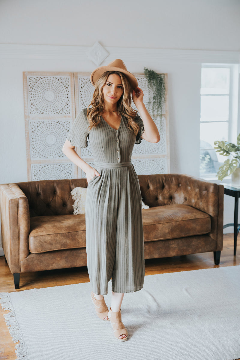 The Eilish Striped Jumpsuit in Olive