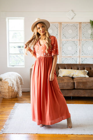 The Shania Embroidered Maxi in Burgundy