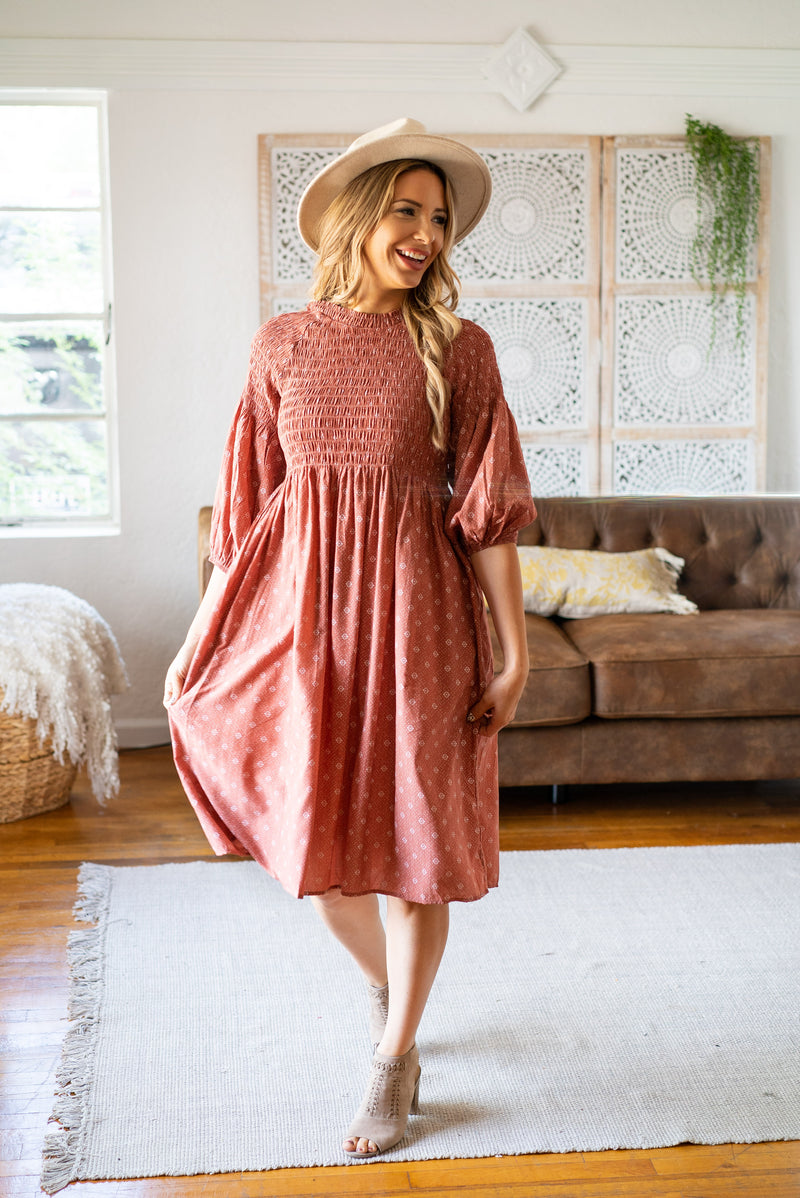 The Dorthea Smocked Dress in Clay