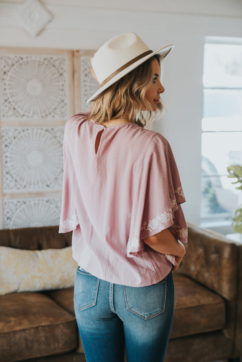 The Baylee Embroidered Blouse in Lavender