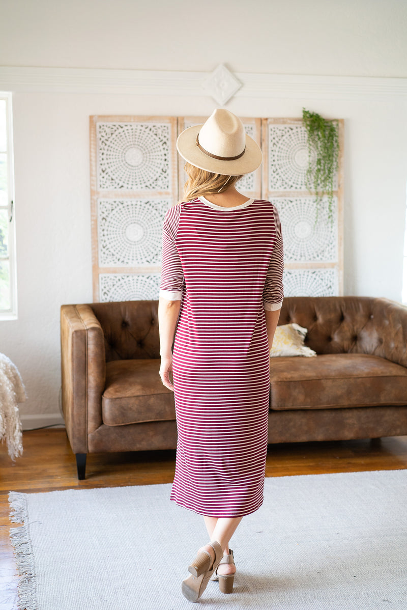 The Kelley Striped Maxi in Burgundy