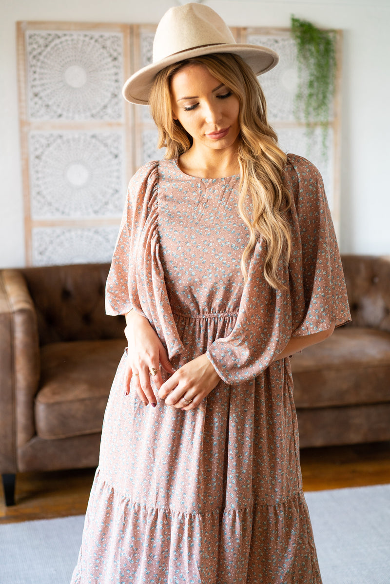 The Tiana Tiered Dress in Taupe