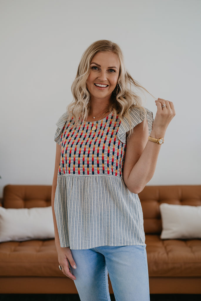 The Vallis Embroidered Stripe Top, denim and ivory stripes, contrast stripes, bright embroidery, beautiful embroidery, ruffle sleeve, relaxed fit, summer top, Wren & Ivory, Wren and Ivory, fashion top