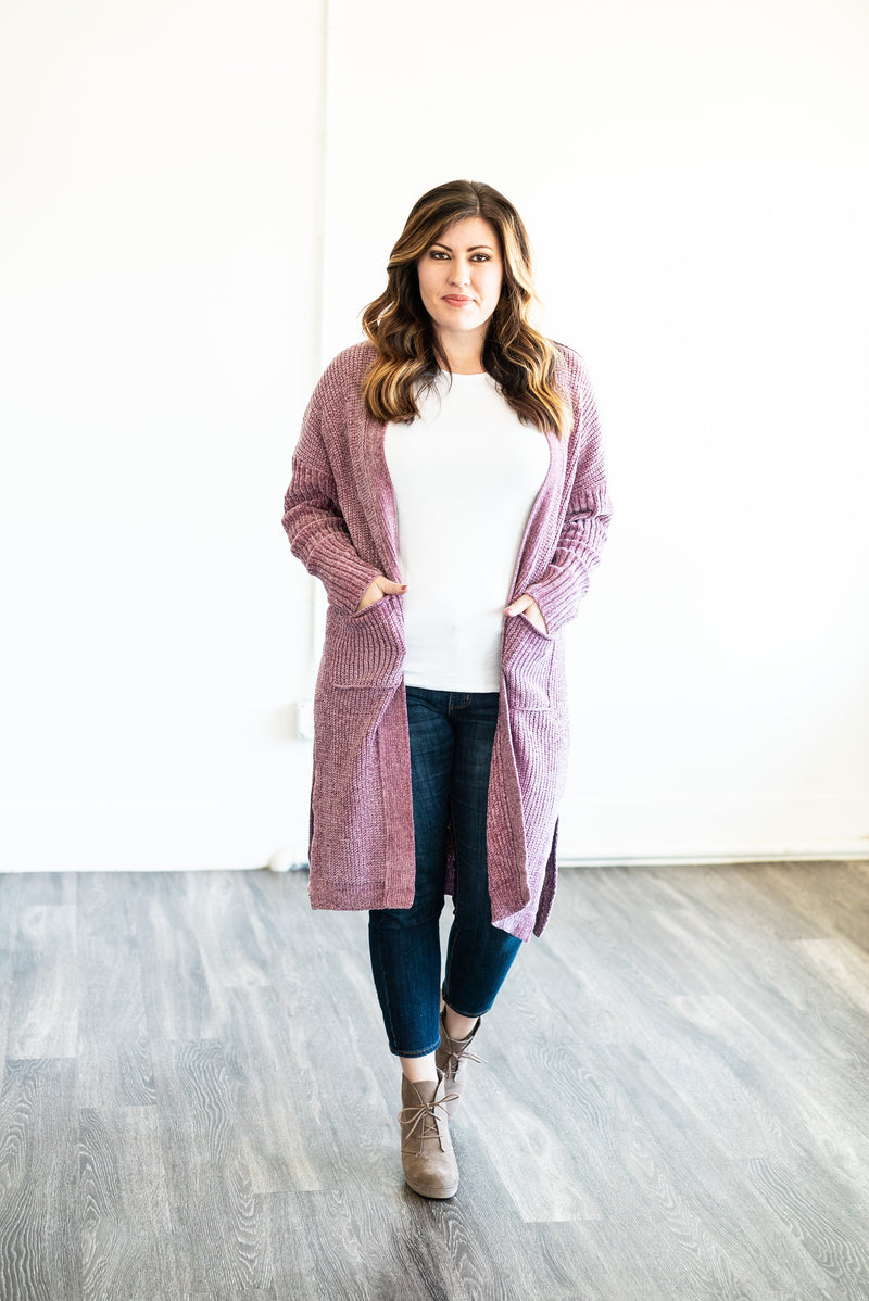 The Cleo Chenille Cardigan in Orchid (Plus Sizes)