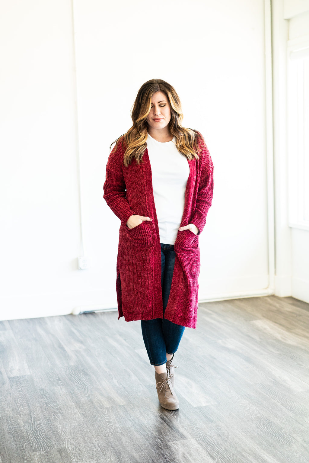 The Cleo Chenille Cardigan in Ruby (Plus Sizes)