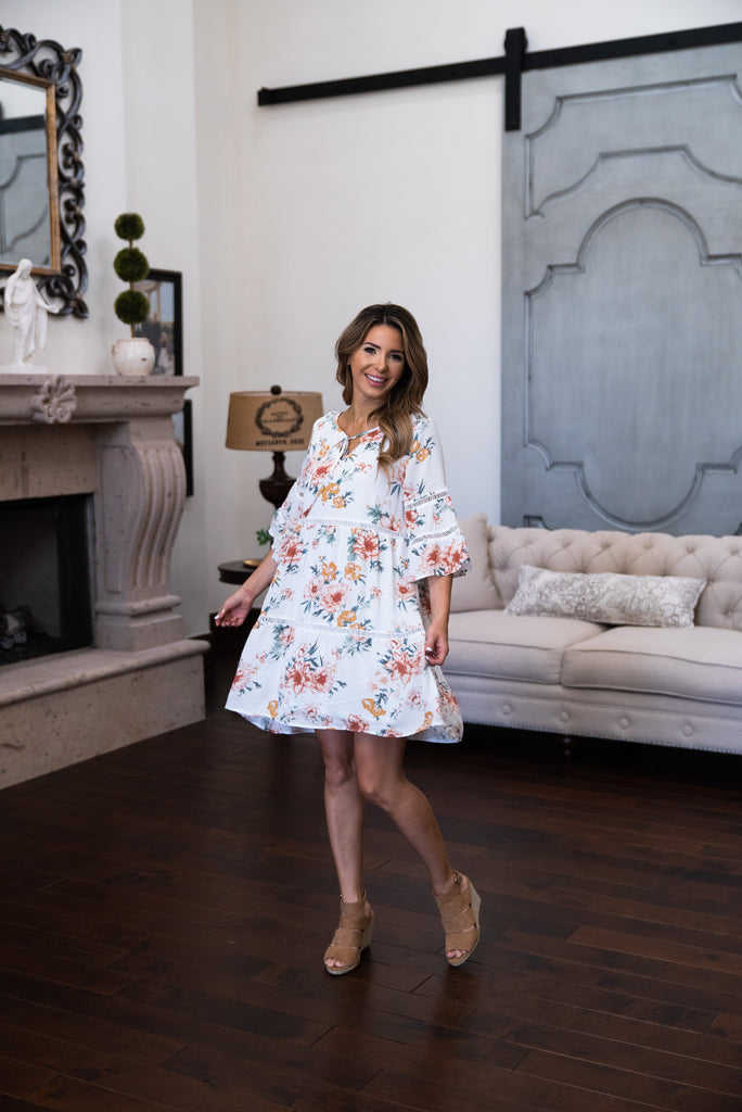 The Kingman Floral Dress in Ivory