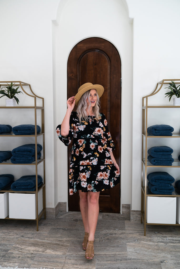 The Kingman Floral Dress in Black