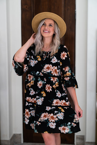 The Clerveaux Floral Faux Wrap in Black (Sizes 1X-3X)