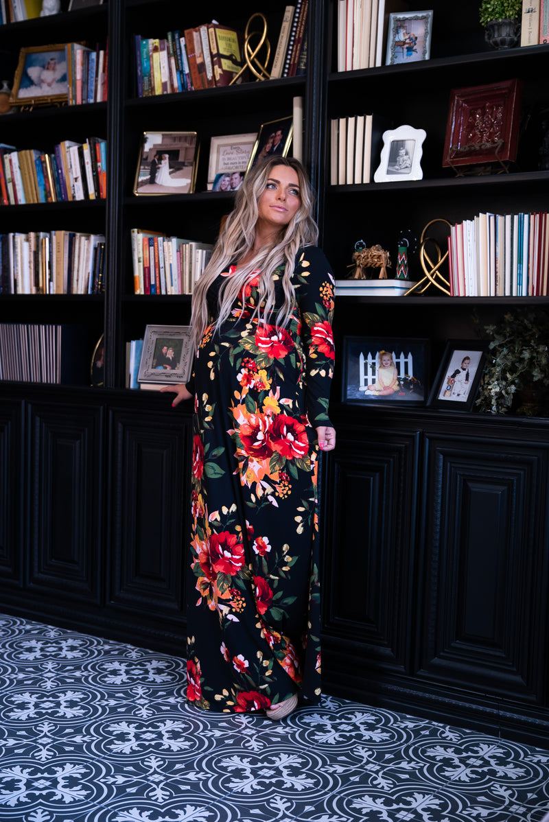 The Chimera Floral Maxi in Black (Sizes S-3X)