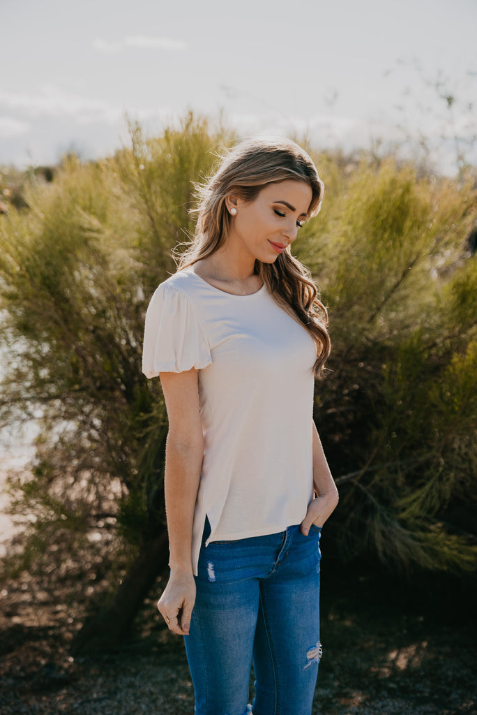 The Epping Puff Sleeve Top in Cream