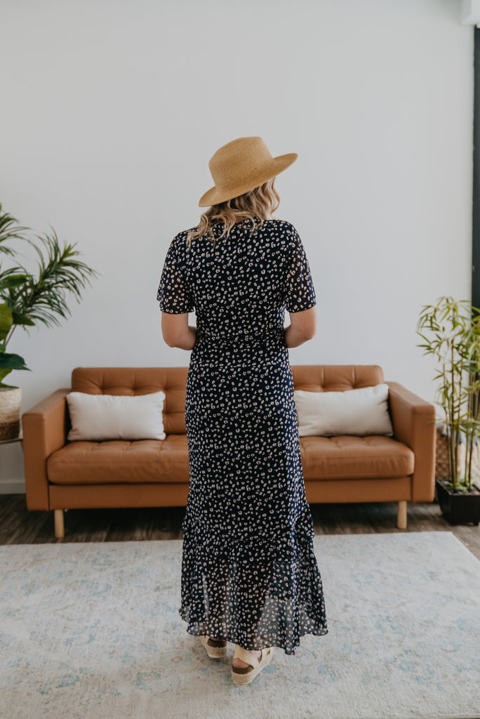 The Evanly Wrap Maxi in Navy, beautiful dress, Nursing Friendly, maxi, wrap dress with tie waist, floral print, Wren & Ivory, Wren and Ivory, flowy dress