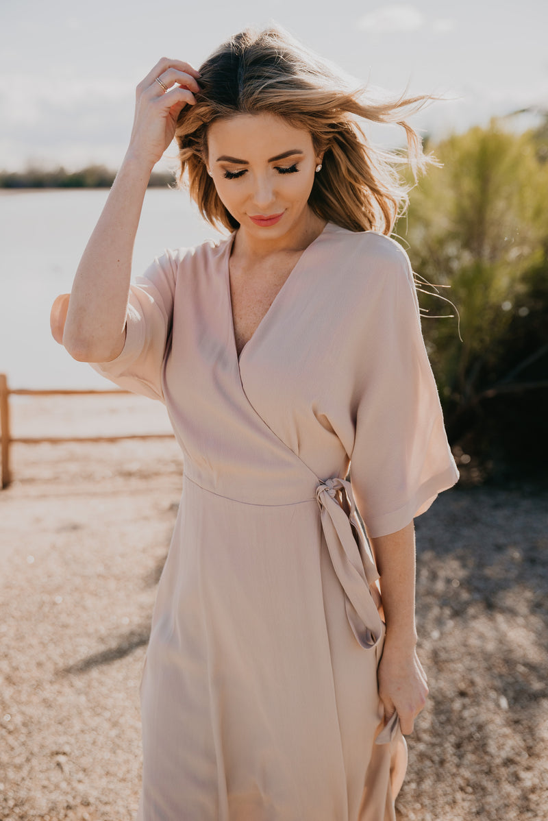 The Escalon Wrap Dress in Taupe