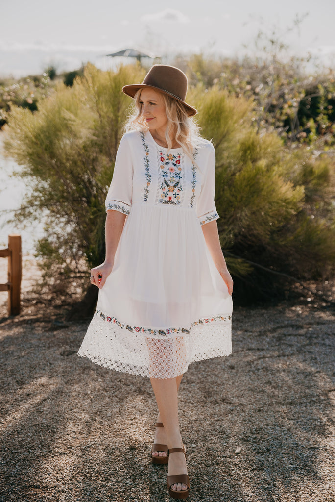 The Loreen Lace Trimmed Midi in Ivory