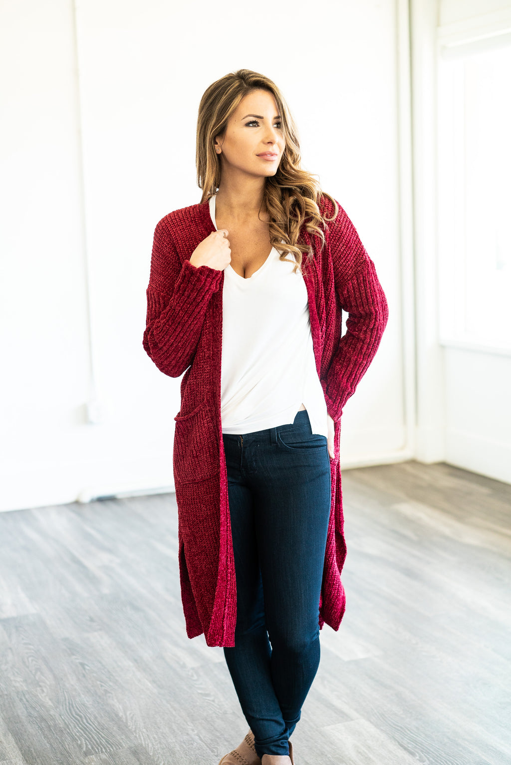 The Cleo Chenille Cardigan in Ruby