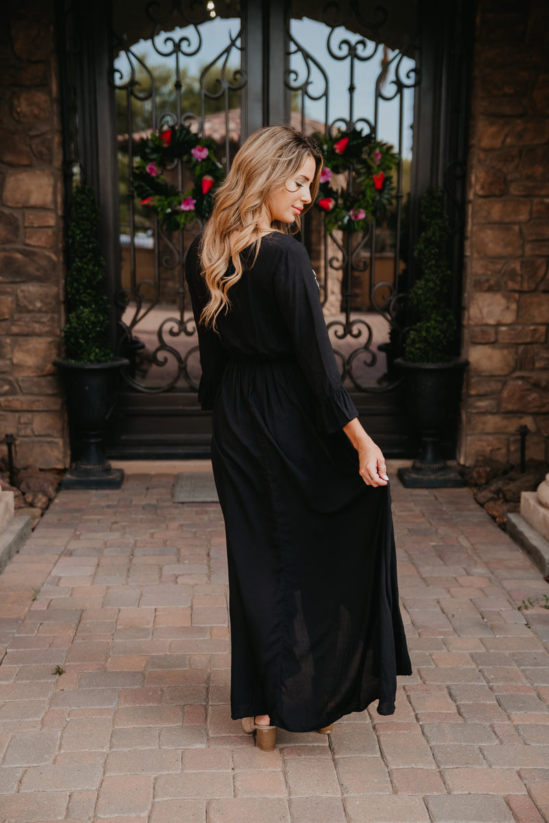 The Leo Embroidered Faux Wrap in Black