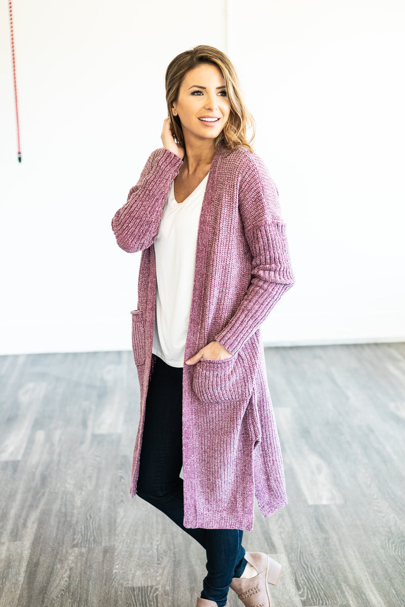The Cleo Chenille Cardigan in Orchid