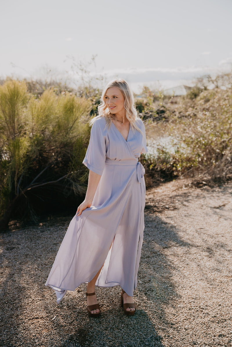 The Escalon Wrap Dress in Periwinkle