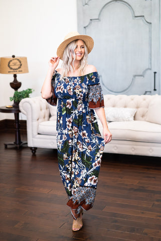 The Naomi Floral Maxi in Navy