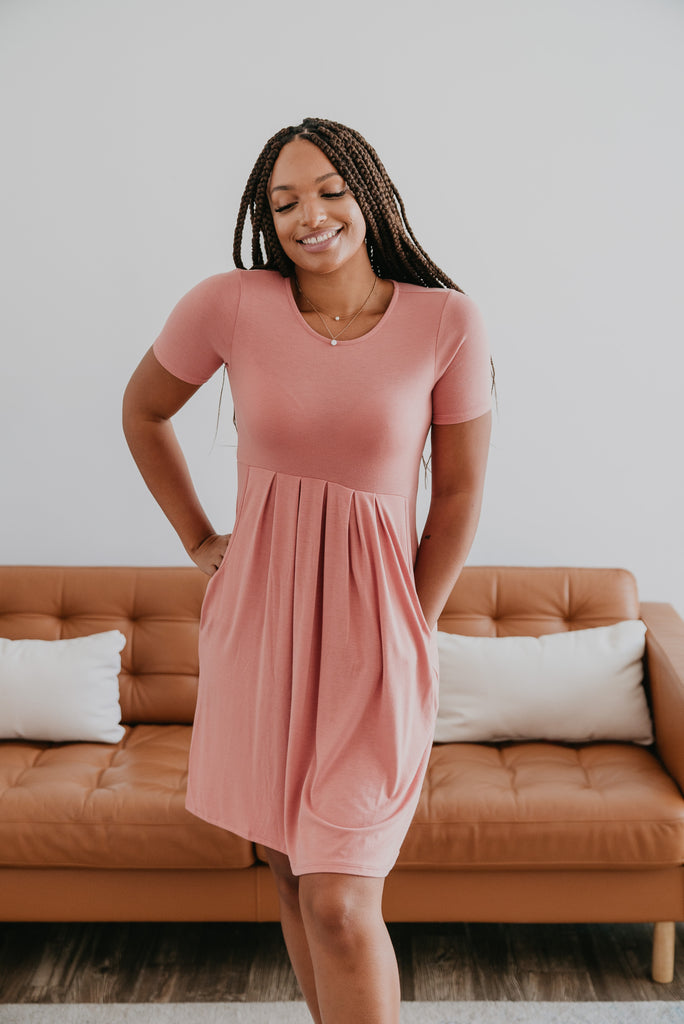 WI Basics: The Alys Pleated Dress in Ash Rose, Wren & Ivory Basics, comfortable dress, stretchy fabric, fashion, Wren & Ivory, Wren and Ivory, short sleeves, pleated dress, round neckline, Baby Bump Friendly, pink dress