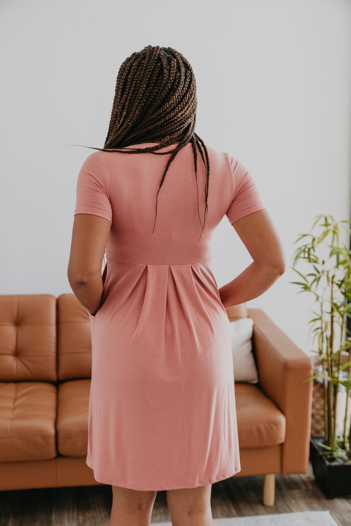 WI Basics: The Alys Pleated Dress in Ash Rose, Wren & Ivory Basics, comfortable dress, stretchy fabric, fashion, Wren & Ivory, Wren and Ivory, short sleeves, pleated dress, round neckline, Baby Bump Friendly, pink dress, plus sizes
