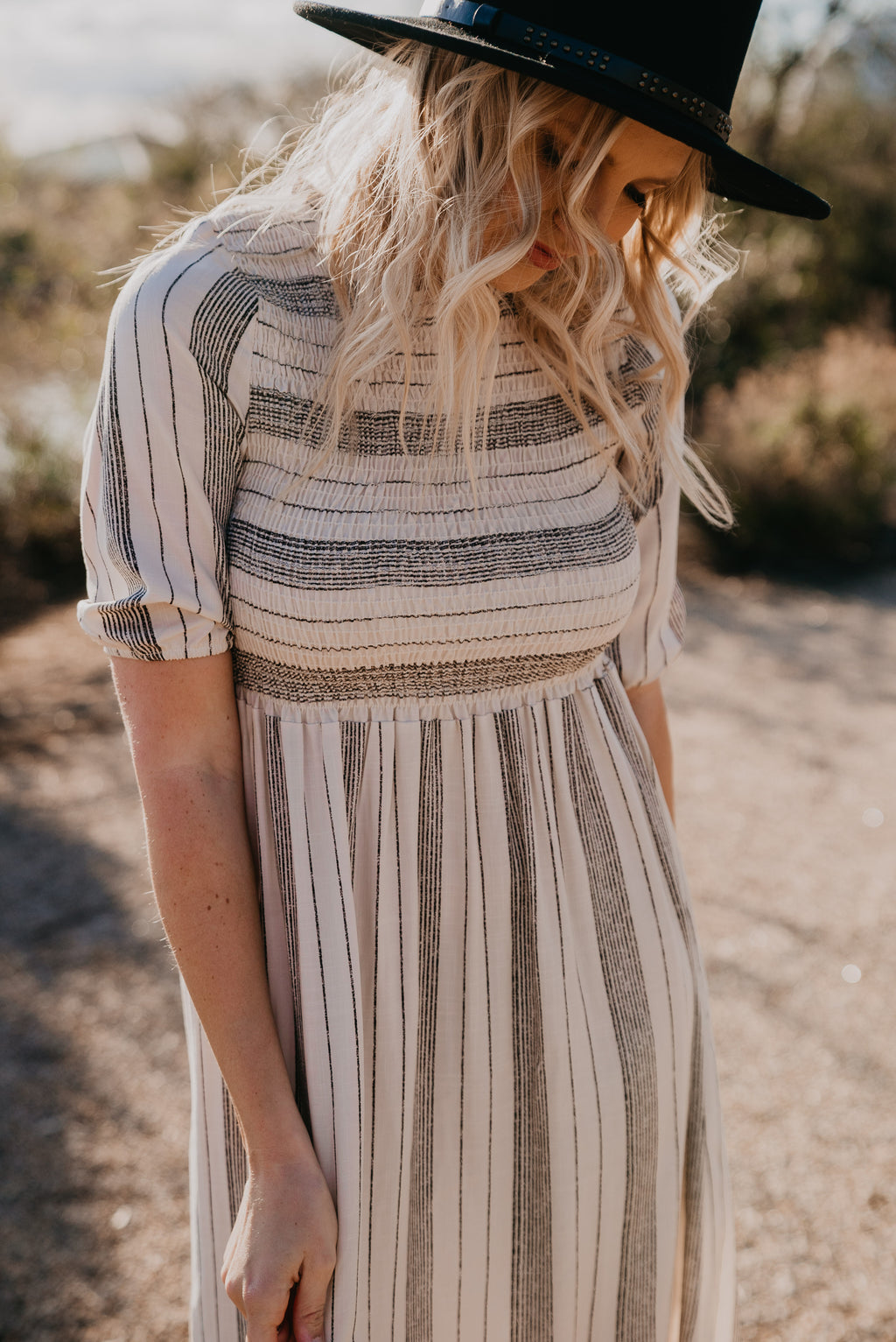 The Skyla Striped Dress in Natural