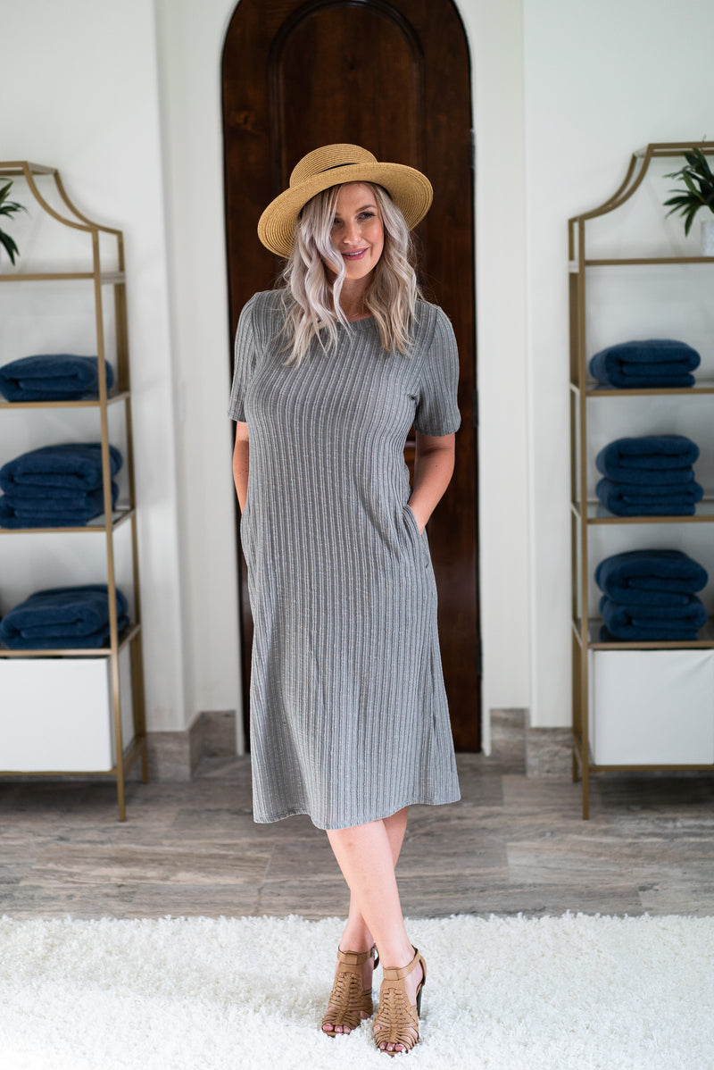 The Rylo Ribbed Dress in Gray Sage