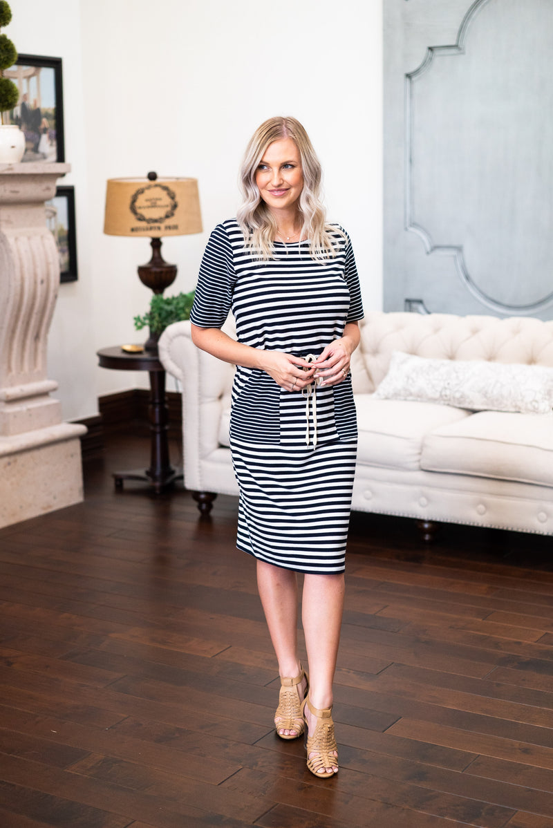 The Alice Multi-Stripe Dress in Navy