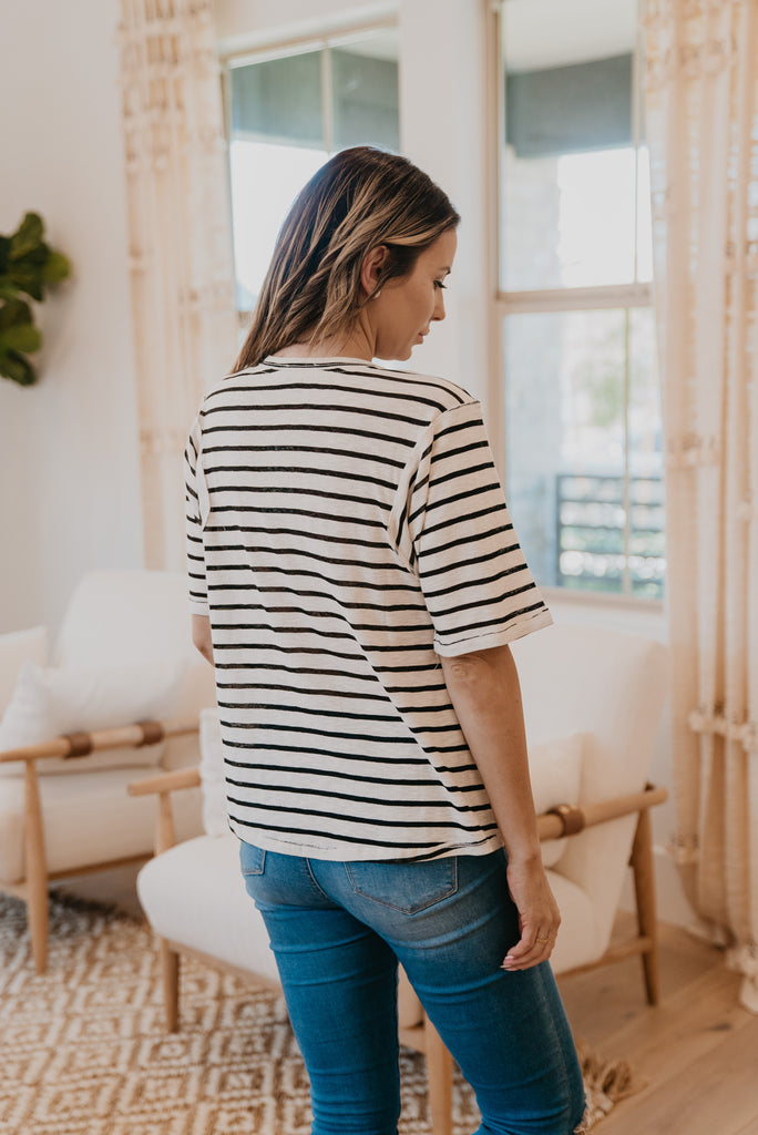 The Talelio Striped Top in Black, short sleeve, women fashion, Wren & Ivory, Wren and Ivory, fashion top, wide sleeve, deep neck, loose cut, lightweight fabric, casual comfort, Baby Bump Friendly, fall top, black strip and ivory printed top