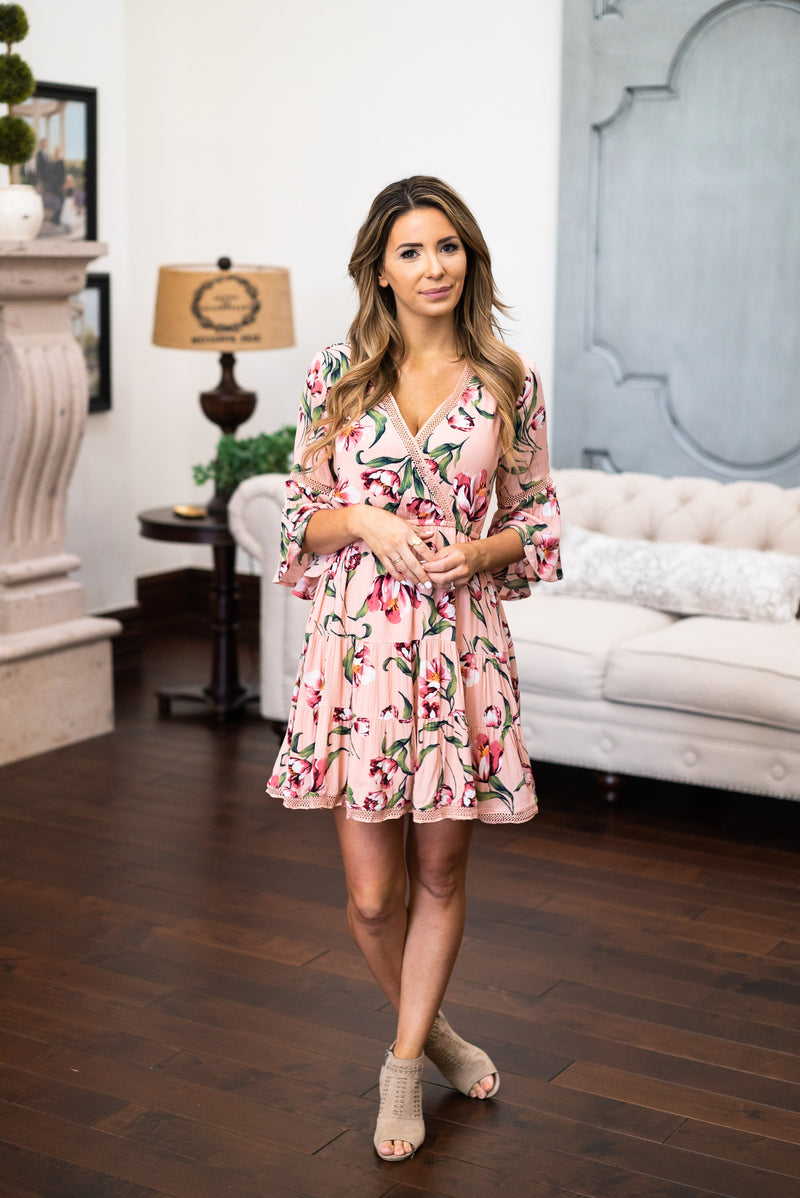 The Palmetto Floral Dress in Blush