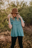 The Soleil Ruffle Blouse in Blue Sage