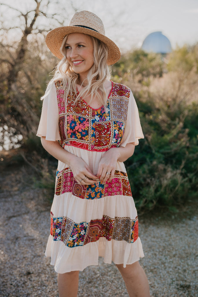 The Medley Patchwork Tiered Dress (Sizes S-3X)