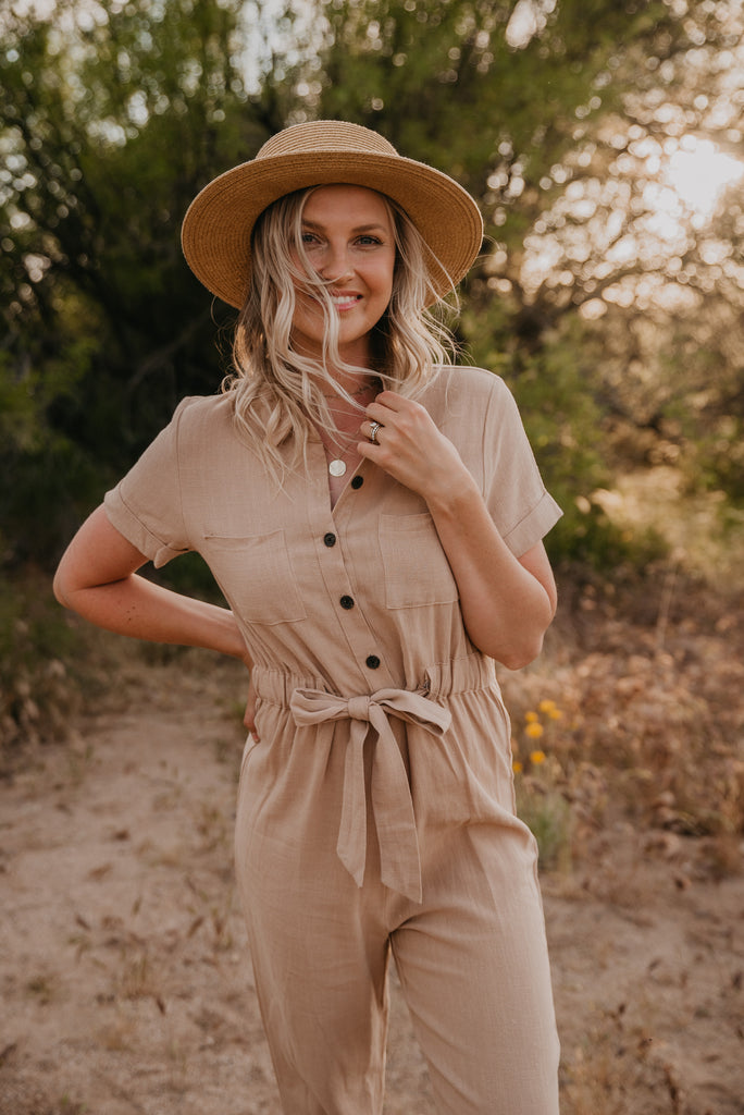 The Bowie Button Jumpsuit in Taupe
