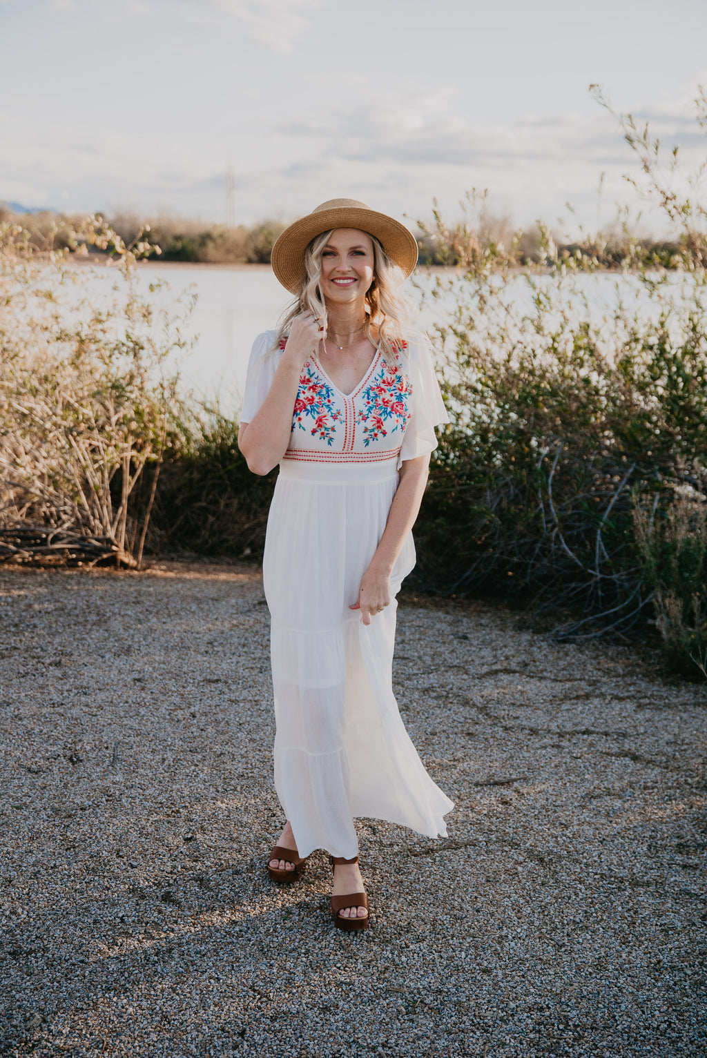 The Paloma Embroidered Maxi in Ivory