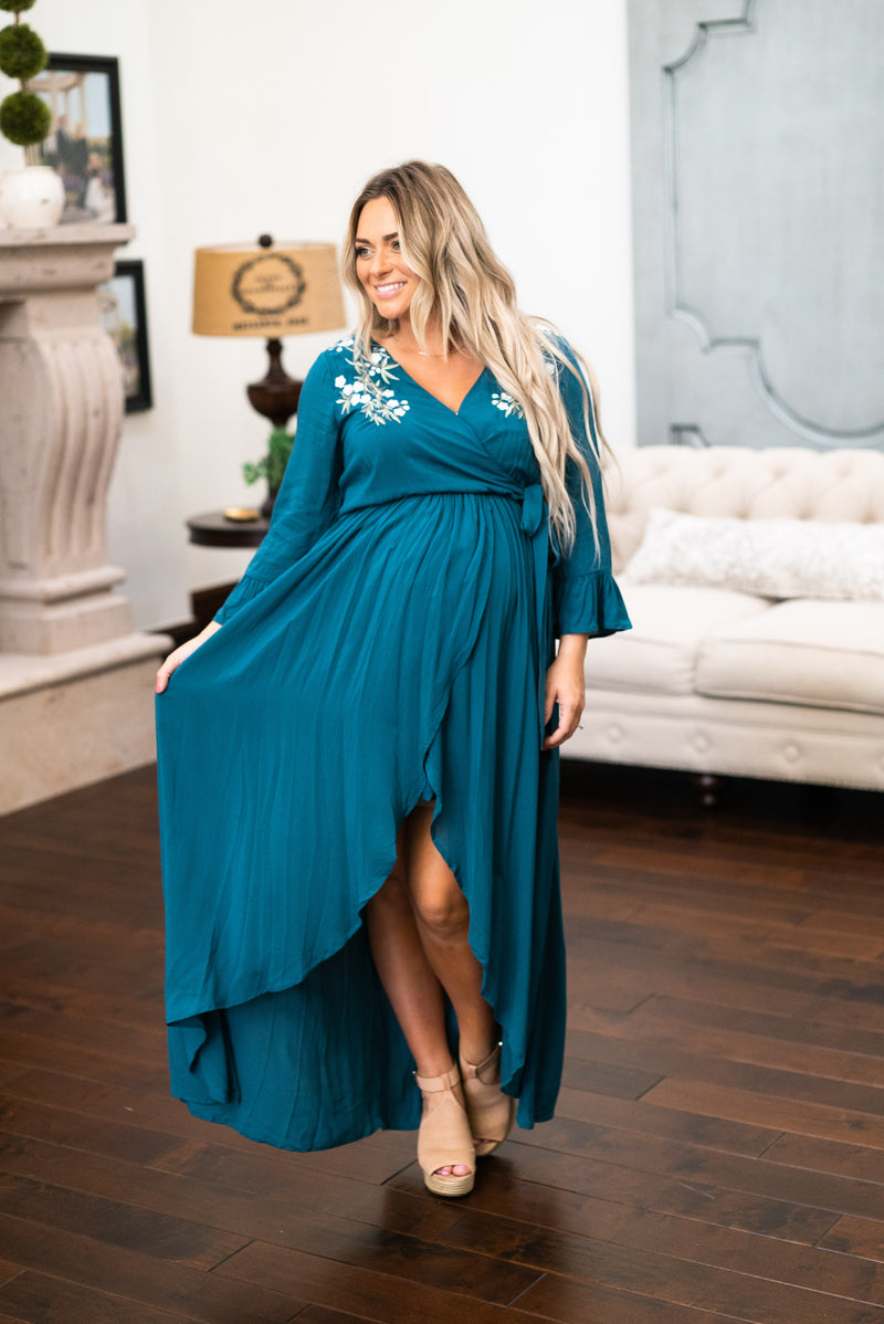 The Leo Embroidered Faux Wrap in Teal