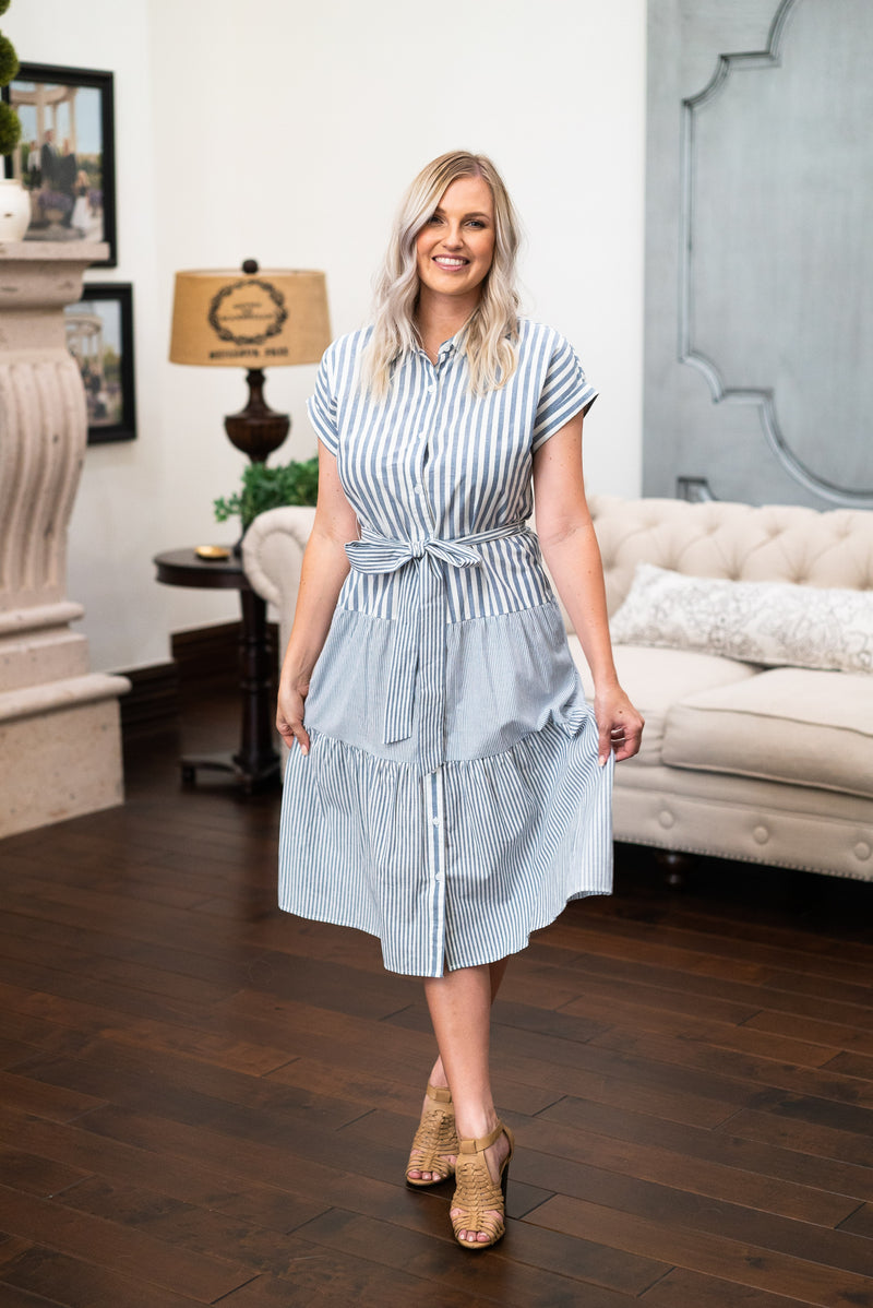 The Mellie Striped Midi in Blue