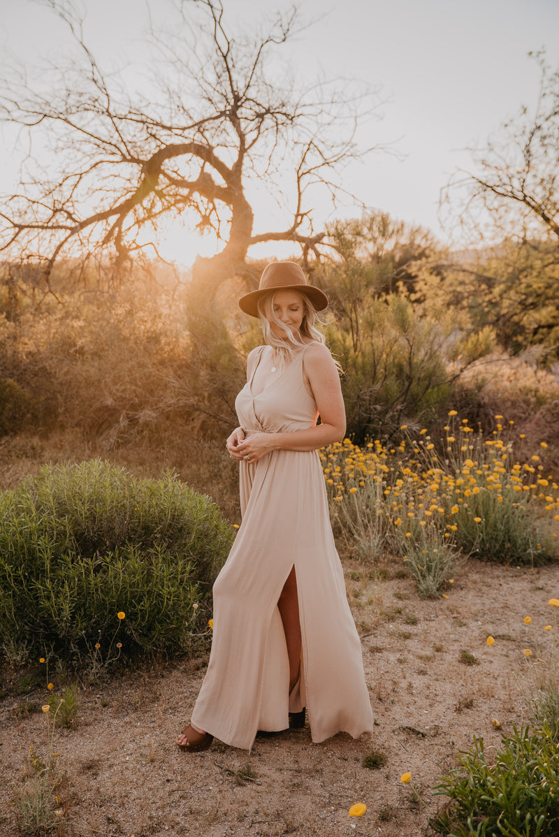 The Scarborough Wrap Skirt Maxi in Dusty Rose