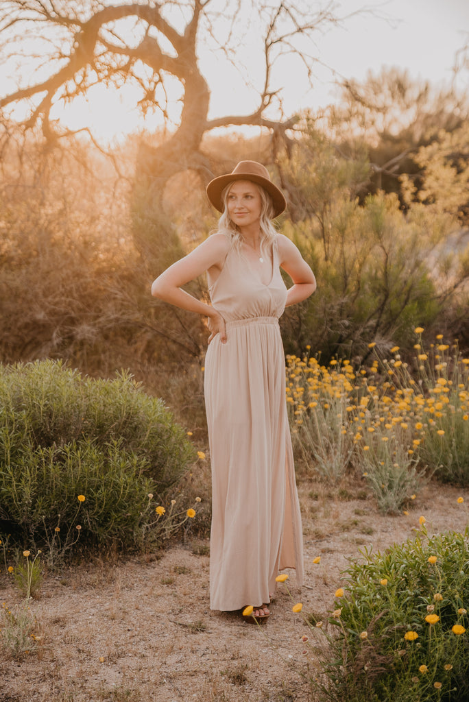 The Nico Solid Maxi in Beige