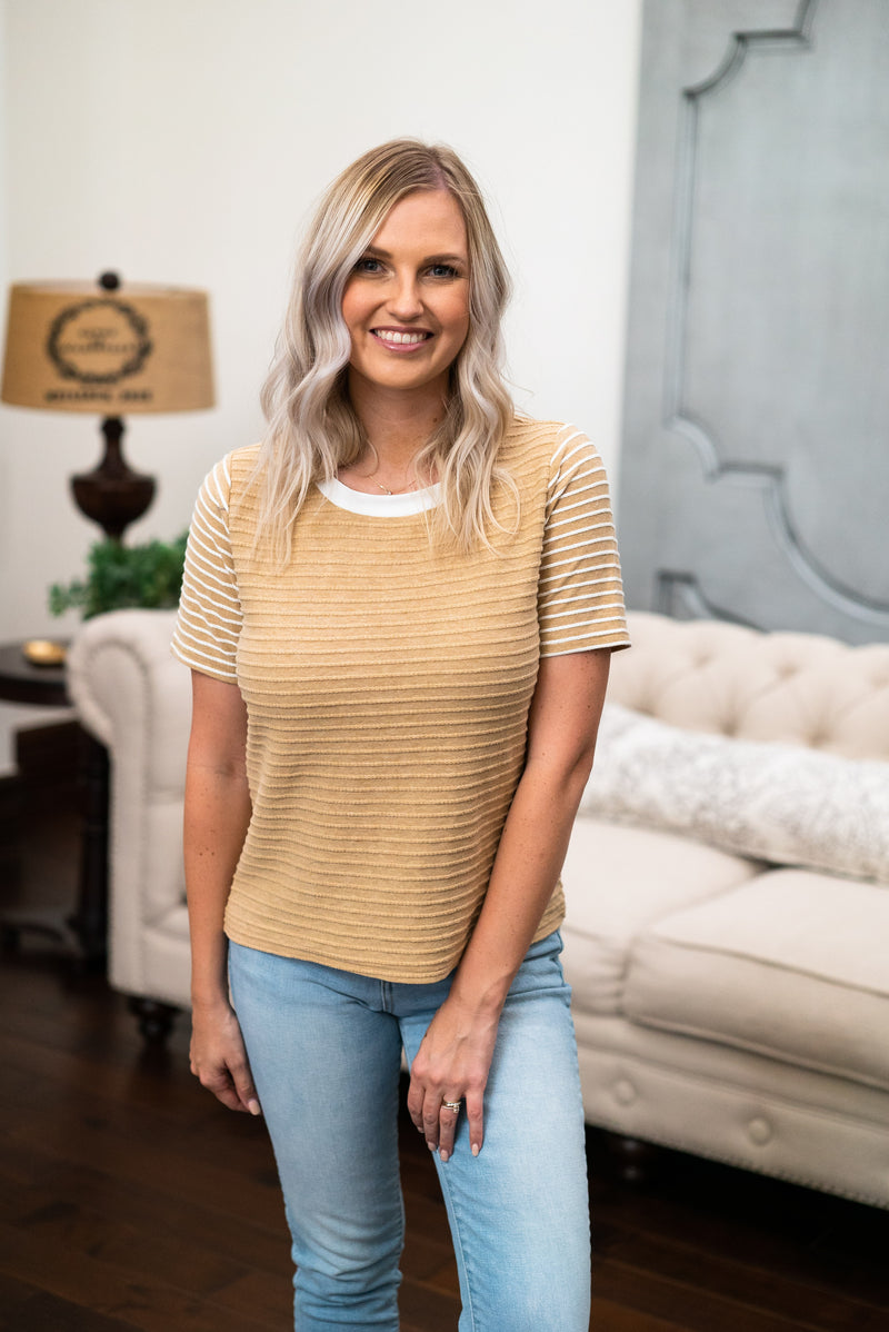 The Hudsyn Striped Top in Camel