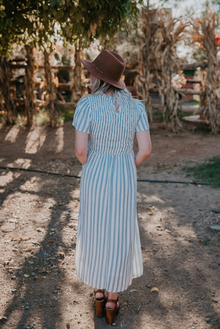 The Seine Striped Maxi in Mauve