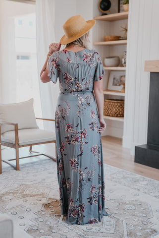 The Reese Floral Button Maxi in Raven