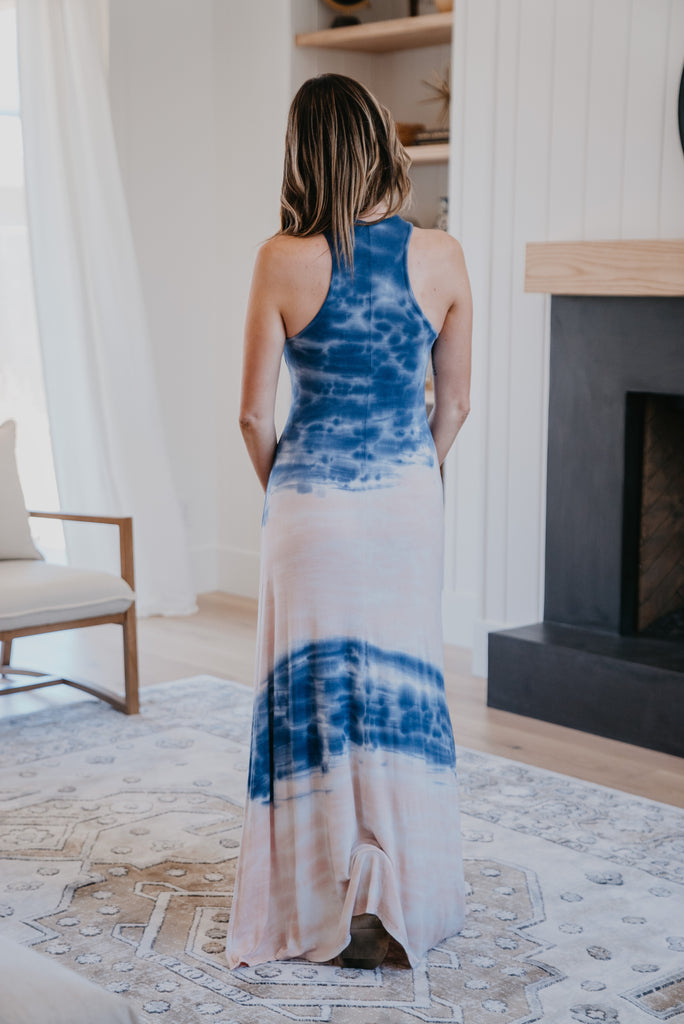 The Marrow Tie Dye Maxi, Wren & Ivory dresses, Baby Bump Friendly, fashion, Wren & Ivory, Wren and Ivory, sleeveless, maxi dress, maxi length, round neck, tie dye, trendy tie dye, ladies dress, navy and blush tie dye, jersey tee material, comfy maxi dress